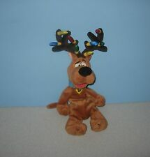 "1998 WB Studio Store Scooby-Doo 12"" Bean Plush Christmas Lights Reindeer Antlers"
