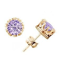 Charm Women Elegant Gold/Silver Plated Rhinestone Crown Ear Stud Earrings
