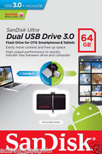 SANDISK 64GB ULTRA DUAL USB 3.0 PEN DRIVE OTG PENDRIVE FOR ANDROID SMART PHONES