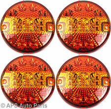 4 X 12/24v 14 LED Hamburger Brake Indicator Tail Light E4 Round Trailer Car Van
