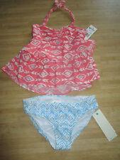 NEW* ROXY GIRLS 5 Tankini SWIMSUIT BIKINI 2 PC $46 Retail Coral Pink Blue
