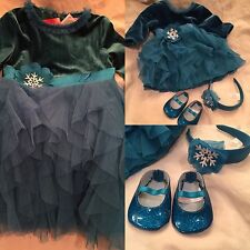 American Girl BITTY BABY TEAL TIDINGS DRESS SIZE 3 for Girls NEW &Bonus Doll Set