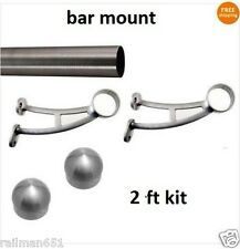 2 ft Brushed Stainless Steel Foot Rail Kit - 2 Bar Mount Brackets & 2 Domed Caps