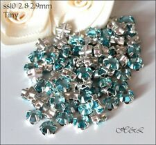30 Swarovski ss10 Aquamarine Vintage Rose Montees Sew On Crystal stones 10ss