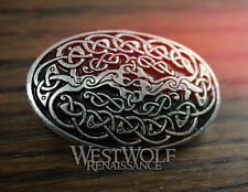 Celtic Tree of Life Oval Brooch -- Viking/Medieval/Knotted/Silver/Coat/Cloak Pin