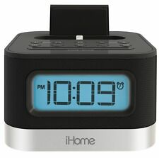 iHome iPL8BN Stereo FM Clock Radio Alarm Lightning Dock 4 iPhone 5/5S 6/6s 7/7s