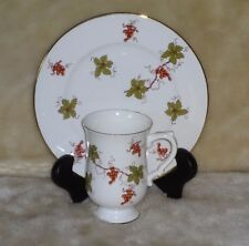 ROYAL VICTORIA FINE BONE CHINA FOOTED COFFEE MUG WITH MATCHING PLATE