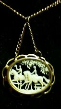 """Depose France Equestrian Themed Carved Celluloid Necklace Goldtone. 24"""""""