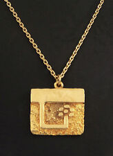* 1970s - CANADA - Guy Vidal MODERNIST GOLD TONE PEWTER PENDANT/NECKLACE