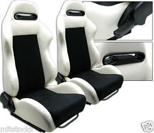 NEW 2 WHITE & BLACK RACING SEATS RECLINABLE + SLIDERS ALL BUICK ***