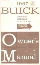 1967 Buick Lesabre Wildcat Electra Owners Manual User Guide Operator Book Fuses