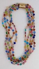 Amazing Vintage Multicolor Art Glass Gold tone Beaded 5 Strands Choker Necklace