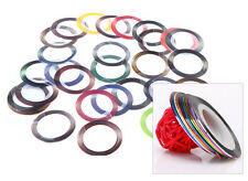 30 Mix Color Metallic Stickers Rolls Striping Tape Decals Nail Art Deco Tips