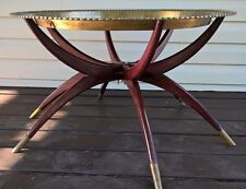 Mid Century LG Brass Etched Tray Top Coffee Table with Folding Spider Leg Base