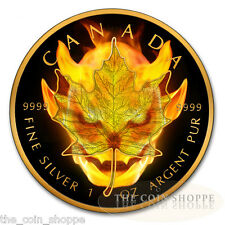 MAPLE LEAF DEVIL BURNING 2016 1 oz Canadian Silver Coin Ruthenium and 24K Gold