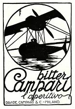 PUBBLICITA BITTER CAMPARI IDROVOLANTE AEREO RITAGLI OMBRE UGO MOCHI MILANO 1927