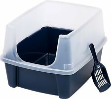 IRIS Clean Pet Cat Kitty Open Top Cats Litter Box with Shield and Scoop Tidy New