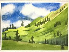 ACEO original Watercolor Painting Miniature Landscape Green Mountain Valley