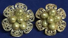 Vintage Off White Lucite W Ivory Pearl Cluster Earrings Clip On Lacey Setting