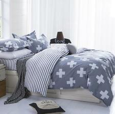 Sale Double Queen Size White Cross Bed Set Pillowcase Quilt Duvet Cover O