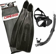 Cressi Pro Star Fins Matrix Mask with Gamma Snorkel & Dive Set Black Size 45/46