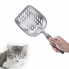 Metal Cat Litter Scoop Deep Shovel & Long Holder for Cat Owners Grey