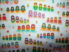 CLEARANCE   FQ MINI MATRYOSHKA RUSSIAN NESTING DOLLS FLOWERS FABRIC KITSCH
