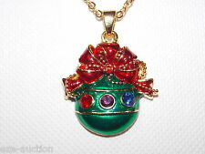 Christmas Gift Multi-Color Crystal Ornament Pendant Gold Chain Necklaces