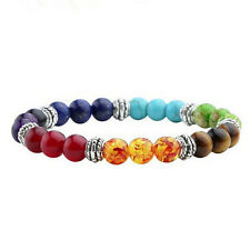 Chakra 7 Stone Gemstone Yoga Healing Point Crystal 8mm Bead Bracelet Stretchy CJ