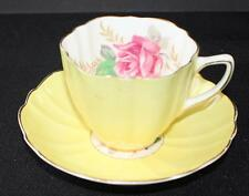 Vintage OLD ROYAL Bone China England Yellow Color ROSE Pattern #8646 Cup&Saucer
