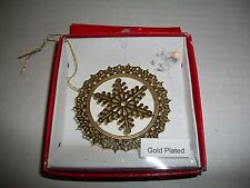 EMPIRE SOUVENIRS GOLD PLATED SNOWFLAKE CHRISTMAS TREE ORNAMENT