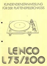 Lenco Service Manual für L 75-200