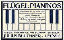 Julius Blüthner Leipzig FLÜGEL *  PIANINOS Historische Reklame von 1914