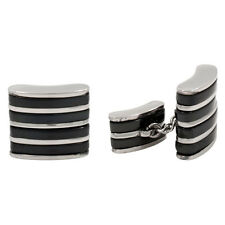 STEEL & Black Titanium Cufflinks Chain Cuff Links NEW B