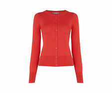 Oasis Red Ribbed Button Cardigan Long Sleeve Knit Jumper Rare Top Size XS 6 8