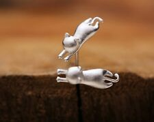 3D Sterling silver small cute cat kitty animal stud earrings Gift box party S1