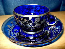 Blue Glass Demitasse Cup and Saucer Silver Overlay
