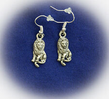SITTING LION Fine Pewter Earrings ~  Silver Only ~ SALE!