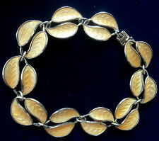Norwegian Silver & lemon Yellow Enamel Leaf Bracelet - David Andersen Norway