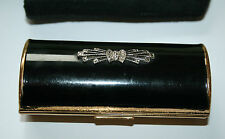 Antique Art Deco Gilt Black Enamel & Marcasite Lipstick Case Vintage Flapper Old