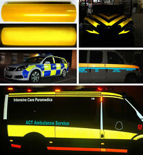 "Vvivid yellow reflective vinyl film 12"" x 48"" inches self adhesive decal roll"
