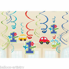 12 Assorted All Aboard Blue Boy's 1st Birthday Party Hanging Swirls Decorations