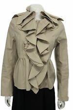 Valentino Women Beige Khaki Short Fashion Coat Jacket Wide Ruffle Neck Flower 10