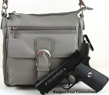 NEW COLOR GRAY Locking Concealment Concealed Carry Holster Gun Pistol Purse #76
