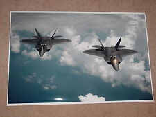 TWO F22 RAPTOR MILITARY JETS POSTER 24x36 HI RES