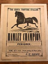 ORIGINAL APRIL 1872 HAMLET CHAMPION THE SENECA TROTTING STALLION J.F BEST POSTER