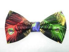 (1) PRE-TIED BOW TIE - COLORFUL PEACOCK FEATHERS WITH METALLIC GOLD HIGHLIGHTS