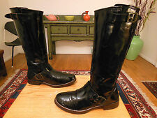 Vtg FRYE Tall Factory Distressed Blk Leather 'Veronica' Engineer Boots 8B XLNT