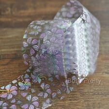 1Pc Colorful Flower Holographic Nail Art Foils Wraps Roll Transfer Sticker Paper