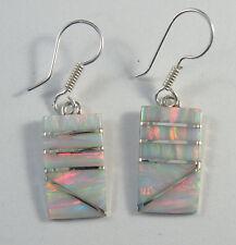 """.950 fine silver white opal dangle earrings 1 1/4"""" high"""